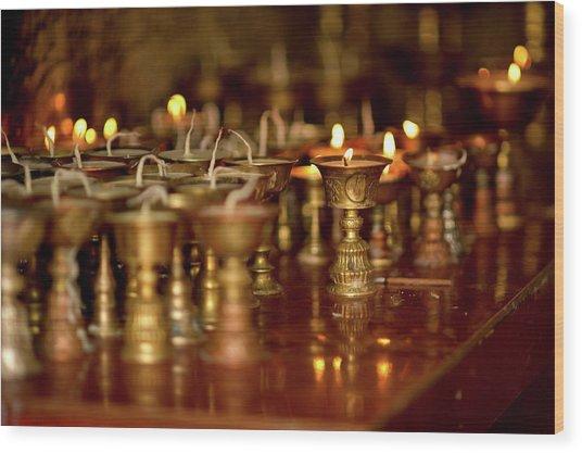 Ritual Lamps In A Buddhist Monastery Wood Print