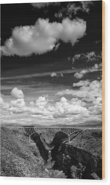 River And Clouds Rio Grande Gorge - Taos New Mexico Wood Print