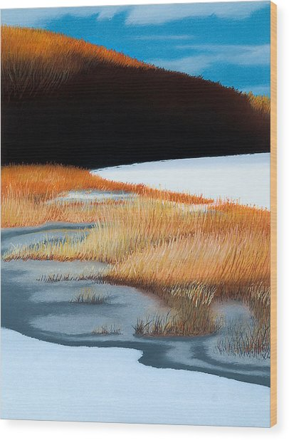 River And Reeds Wood Print by Bruce Richardson