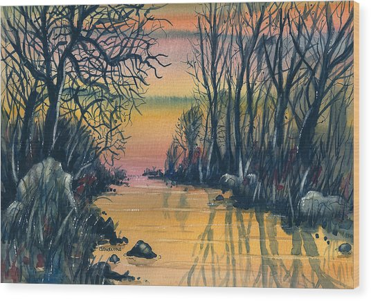 River At Sunset Wood Print