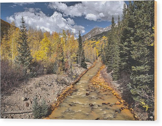 River By Iron Town Colorado Wood Print