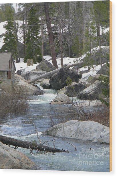 River Cabin Wood Print