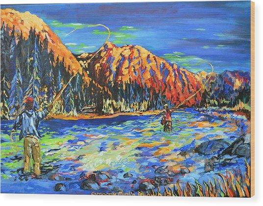 River Fisherman Wood Print