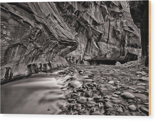 River Flow Bw Wood Print by Juan Carlos Diaz Parra