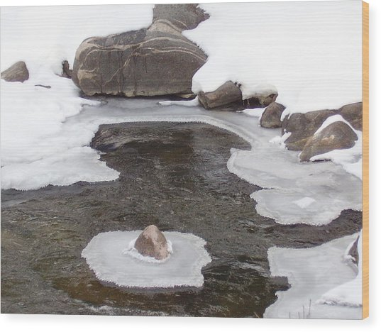 River Ice Wood Print by Yvette Pichette