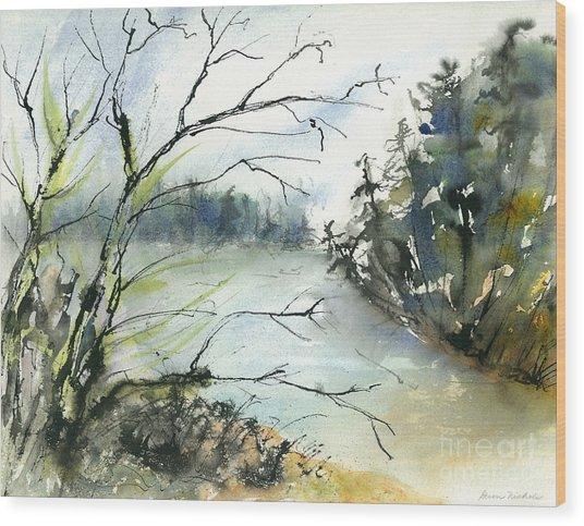 River In Autumn Wood Print by Gwen Nichols