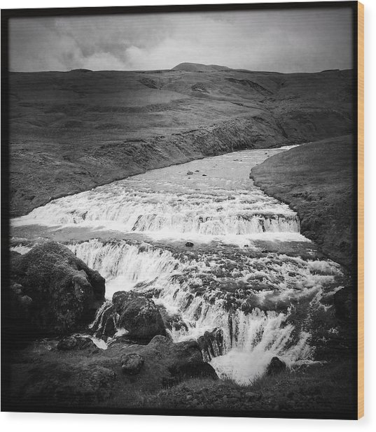 River In Iceland Black And White Wood Print