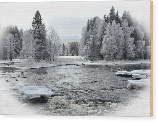 River In Winter. Textured Wood Print by Conny Sjostrom