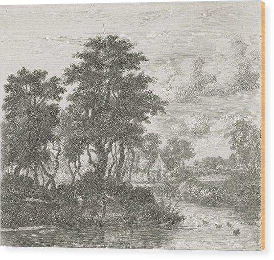 River Landscape With An Angler, Hermanus Jan Hendrik Van Wood Print by Hermanus Jan Hendrik Van Rijkelijkhuysen And Meindert Hobbema