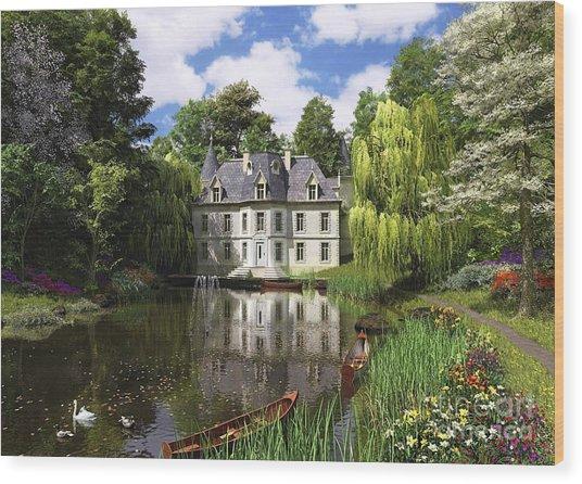 River Mansion Wood Print