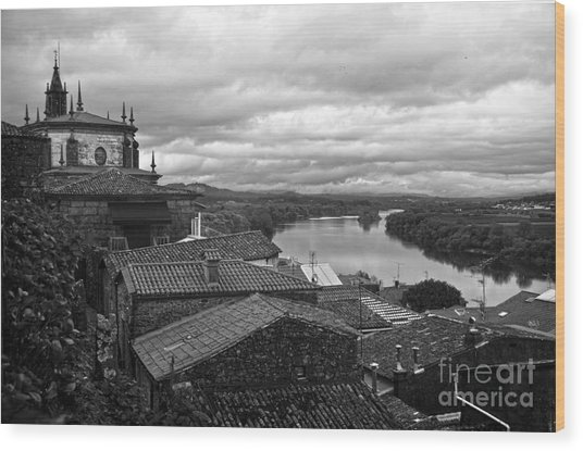 River Mino And Portugal From Tui Bw Wood Print