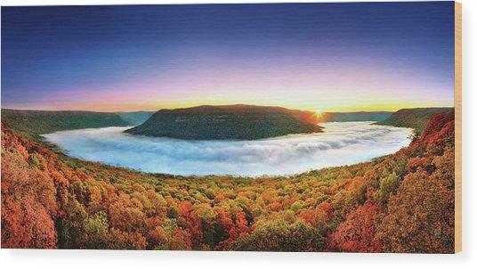 River Of Fog Wood Print