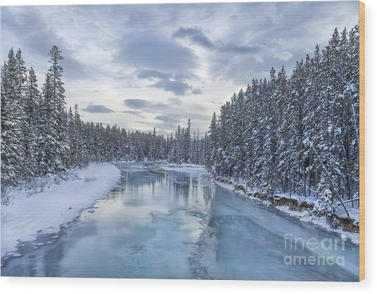 River Of Ice Wood Print