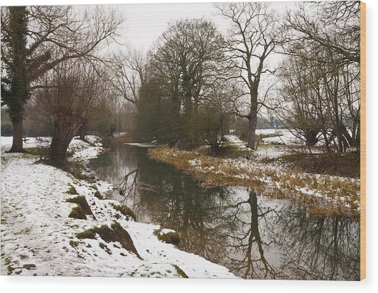 River Ouse In Snow Wood Print