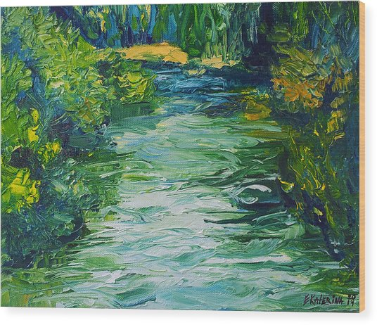 River Painting Wood Print