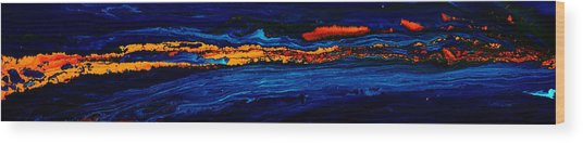River Path Abstract Art Horizontal Fluid Painting By Kredart Wood Print