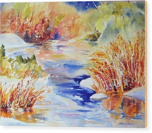 River Reeds Wood Print