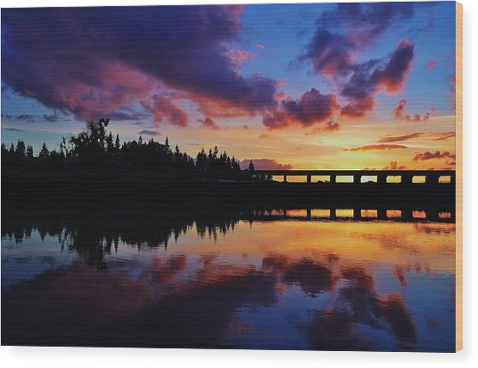 River Reflection Sunset Wood Print