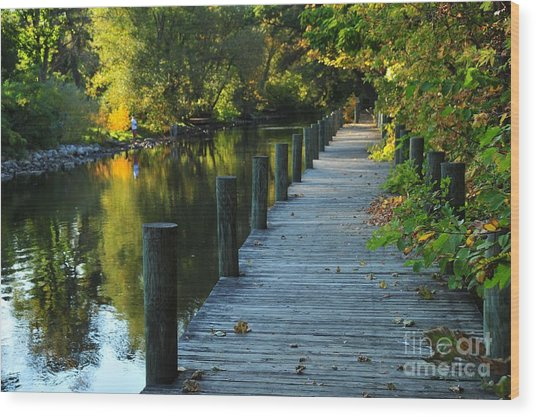 River Walk In Traverse City Michigan Wood Print
