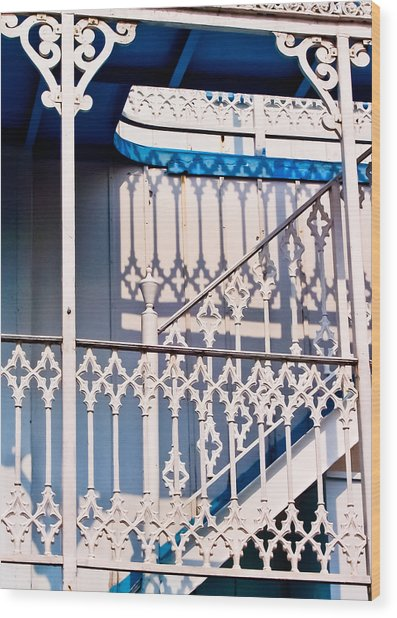 Riverboat Railings Wood Print