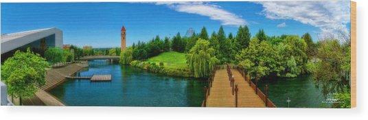 Riverfront Park Clean Pano Wood Print by Dan Quam