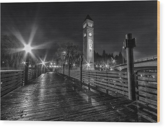 Riverfront Park Clocktower Seahawks Black And White Wood Print