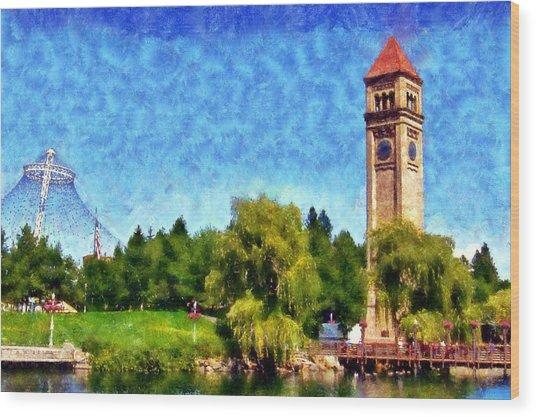 Riverfront Park Wood Print