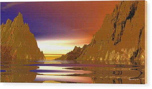 Rivers Of Gold Wood Print