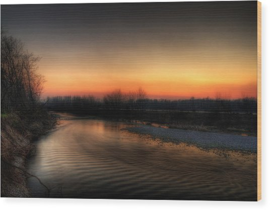 Riverscape At Sunset Wood Print