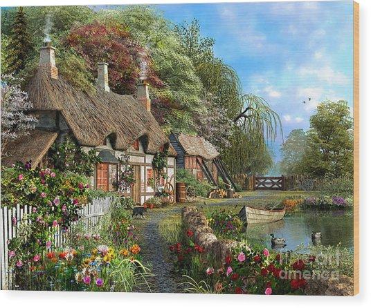 Riverside Home In Bloom Wood Print
