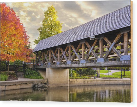 Riverwalk Footbridge Wood Print