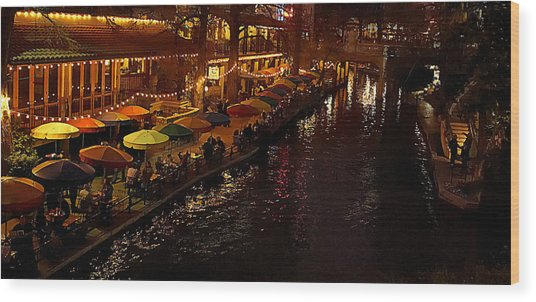 Riverwalk Night Wood Print