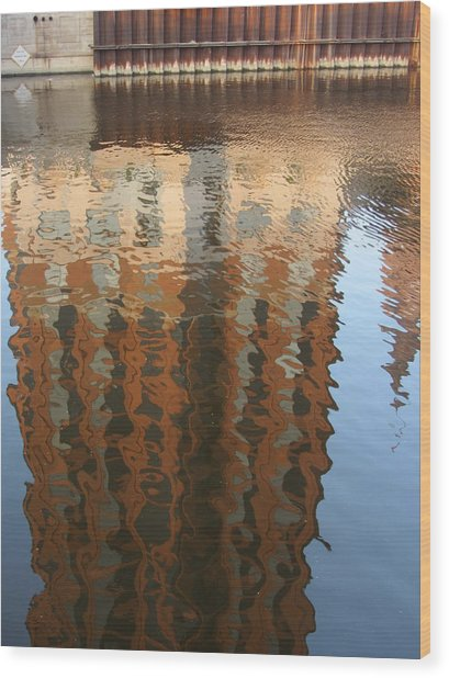 Riverwalk Reflection Wood Print