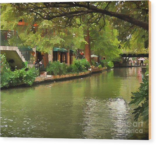 Riverwalk San Antonio Wood Print