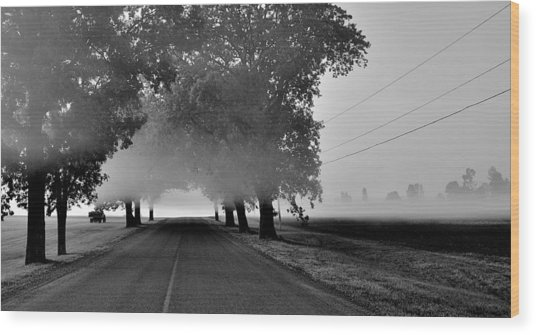Road Into Morning Mist - Canada Wood Print