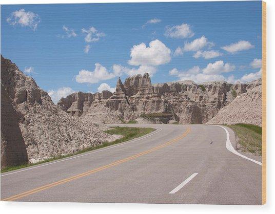 Road Through The Badlands Wood Print