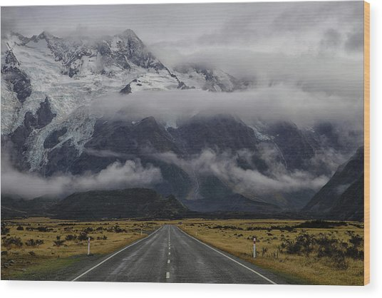 Road To Mt Cook Wood Print