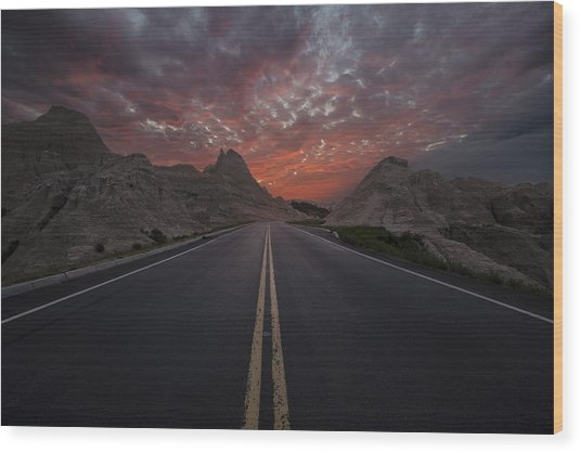 Road To Nowhere Badlands Wood Print