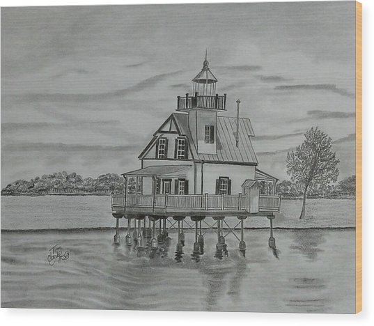 Roanoke River Lighthouse Wood Print by Tony Clark