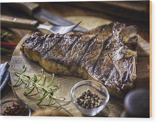 Roasted Bbq T-bone Steak Wood Print by GMVozd