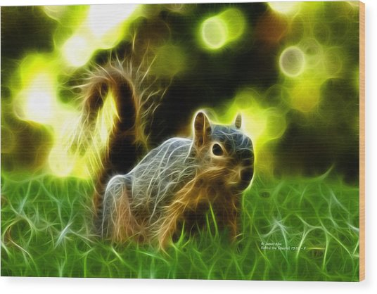 Robbie The Squirrel - 7376 - F Wood Print
