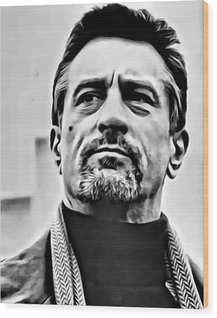 Robert De Niro Portrait Wood Print