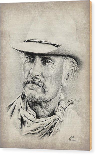 Robert Duvall Sepia Scratch Wood Print