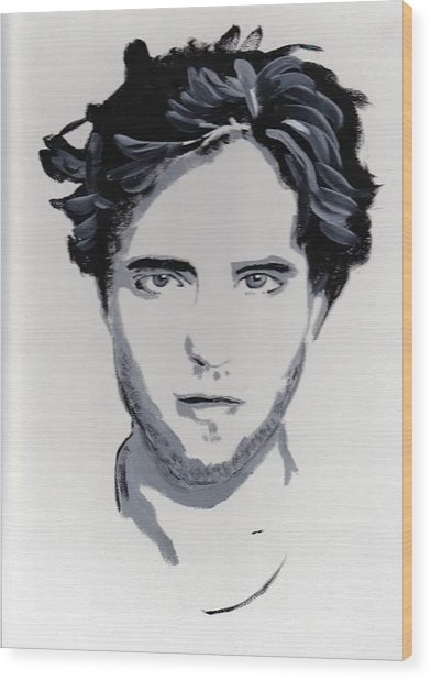 Robert Pattinson 89 Wood Print by Audrey Pollitt