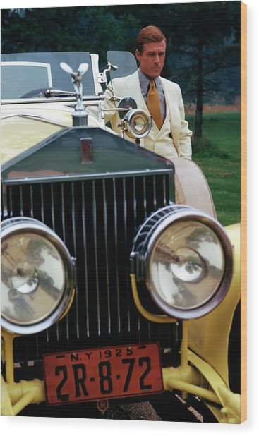 Robert Redford By A Rolls-royce Wood Print