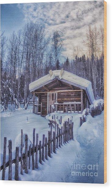 Robert Service Cabin Winter Idyll Wood Print