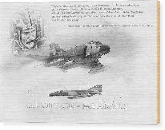 Robin Olds Wood Print by Peter Chilelli