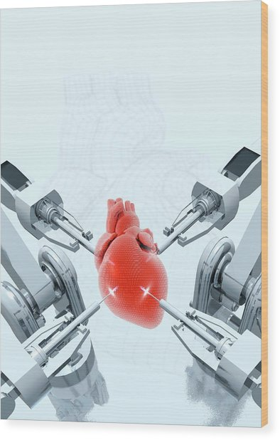 Robotic Arms Making A Heart Wood Print by Victor Habbick Visions