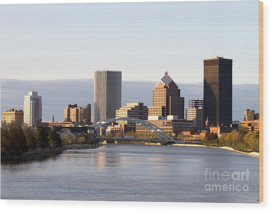 Rochester New York Skyline Wood Print