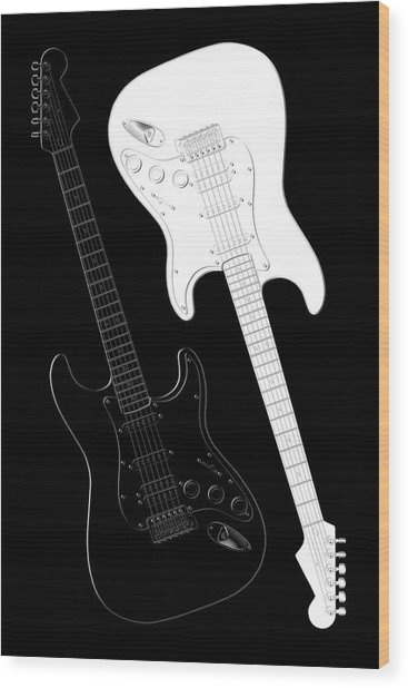 Rock And Roll Yin Yang Wood Print